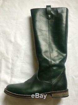 NIB Sz 3.5 EU 35 PePe Green Leather Riding Boots shoes youth girls Italy RP$220