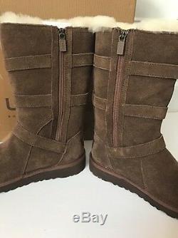 NIB UGG Australia Kid Girls Maddi Chocolate Suede Boots Size 1 Youth 1001520K