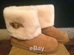 0da7536a484 Nib Ugg Big Girl Kids Ellee Chestnut Suede Boots With Sheepskin Cuff ...