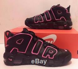 NIKE AIR MORE UPTEMPO Black And Pink Blast 415082 003 Girls GS Kids Pippen SZ 7