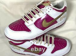NIKE Dunk Low GS Rave Pink Gold RARE 309601-671 Girls Shoes Youth Size 5.5Y EUC