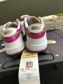 NIKE Dunk Low GS Rave Pink Gold RARE 309601-671 Girls Shoes Youth Size 6.5Y EUC
