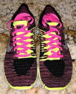 NIKE Free RN Flyknit Black Pink Pow Volt Running Train Shoes NEW Youth Girls 6