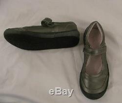 NINA KIDS Girls Sz US 3 EUR 36.5 Pewter Gray Leather Mary Jane Shoes Velcro GUC
