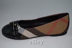 NWT! $245 Burberry Girls Childrens Mini Avonwick Check Flats Shoes sz 32 NOVA