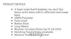NWT Janie and Jack Girls Lemon Dress Swimsuit Size 12 Barrette Bow Flat Shoe 4K