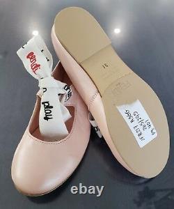 NWT NEW Fendi Girls pink leather ballerina shoes white black ribbon 31 US 13