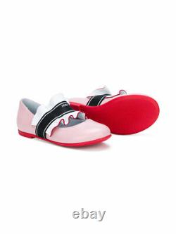 NWT NEW Fendi Girls pink red leather ruffle ballerina shoes 31 US 13 RT $550+