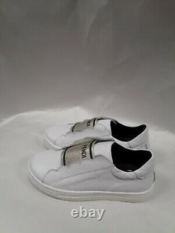NWT NEW Fendi Girls white gold scalloped logo sneakers slip on shoes 31 US 13