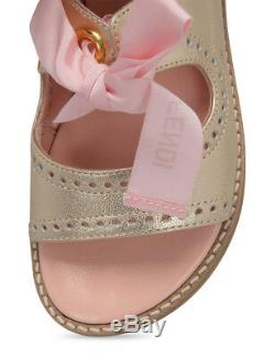 NWT NEW Fendi kids girls gold perforated pink logo lace sandals 31 US 13