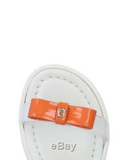 NWT NEW Fendi kids girls white pink patent leather bow logo sandals 31 US 13