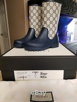 New $350 Authentic Unisex Gucci Kids Todder Rain Boot Shoes Rainboots girl boys