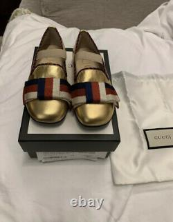 New Auth Gucci Youth Girls Kids Bow Logo Flat Ballerina Shoes Gold 25 / 9 $425
