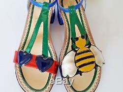 New Authentic Gucci Bee & Cherry Cerise Sandal Kids Girls Size 34
