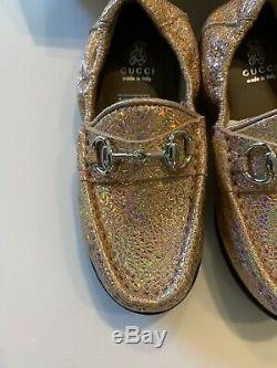 New Authentic Gucci Salmone Girls Kids Sparkle Horsebit Loafer Shoes Sz 24 $295