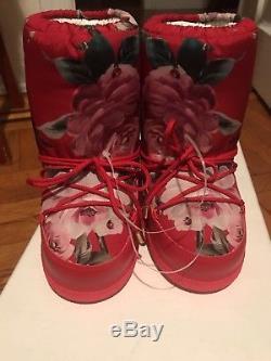 New DOLCE & GABBANA Red Floral Birds Kids Children's Girls Snow Boots Shoes