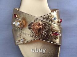 New Dolce & Gabbana Girls Gold Leather Jewelled Shoes/ Sandals 36 Uk 3 Us 4 $560