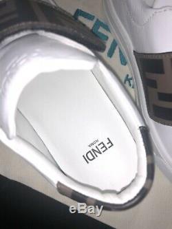New Fendi Authentic White Girls Kids Logo Trainer Shoe Size Eu 27 In Box
