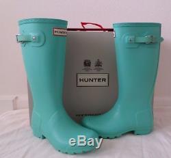 New Hunter Kids Original Rain Boots Tourmaline Mint Tiffany Girls Size 6 EU 37