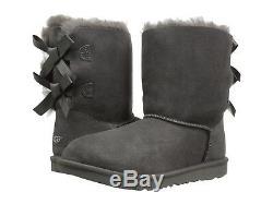 New Kids Girl Women Boot Ugg Bailey Bow II Grey Charcoal Original 1017394k Grey