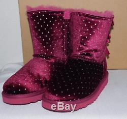 New Kids Girls 13 Ugg Lonely Hearts Bailey Bow Starlight Velvet Sheepskin Boots