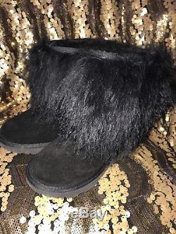 New Kids Girls 5 Ugg Black Classic Mini Fluff 1019822k Suede Sheepskin Boots