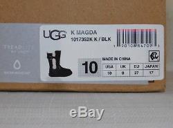 New Kids Girls Size 10 Black Ugg 1017352k Magda Zip Suede Sheepskin Boots