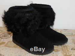 New Kids Girls Size 2 Black Ugg Classic Short II Fluff Suede Sheepskin Boots