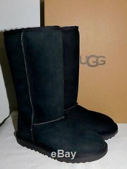 New Kids Girls Size 3 Black Ugg Classic Tall II Suede Sheepskin Boots 1017713k