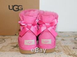 New Kids Girls Size 3 Pink Azalea Ugg Mini Bailey Bow II Suede Sheepskin Boots