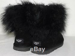 New Kids Girls Size 6 Black Ugg Classic Short II Fluff Suede Sheepskin Boots
