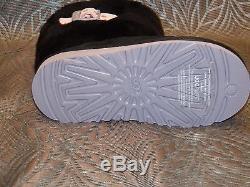 New Kids Girls UGG Ellee Black Pink Buckle Suede Sheepskin Winter Warm Boots