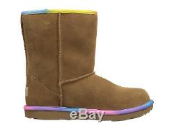 New Kids Girls Ugg Classic Short II Rainbow Chestnut 1019699k Water Resistant
