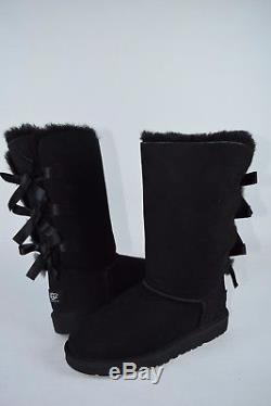 New Kids Girls Ugg Tall Bailey Bow II Black Boots 1090529K sz 2-4