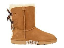 New Kids Girls Women Boot Ugg Bailey Bow II Black Water Resistant 1017394knib