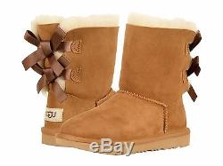 New Kids Girls Women Boot Ugg Bailey Bow II Chestnut Short Water Resistant 7394