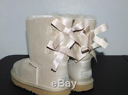 New Nwob Kids Girls Size 3 Gold Ugg Bailey Bow II Shimmer Suede Sheepskin Boots