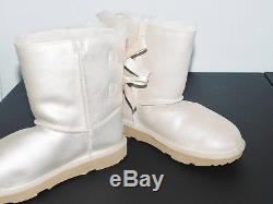 New Nwob Kids Girls Size 4 Gold Ugg Bailey Bow II Shimmer Suede Sheepskin Boots