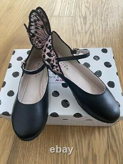 New SOPHIA WEBSTER CHIARA Girl Shoes Leather Black Embroidered Shoes 31 13
