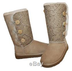 New UGG AUSTRALIA Hand painted Kids Girls Bailey Button Triplet 100% Auth 1