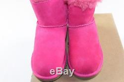 New UGG AUSTRALIA Kids Girls Size 3 Mini Bailey Bow Fur Lined Boots Shoes Pink