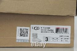 New UGG Uggs Kids Girls Classic Short Flora Silver Leather youth Boots 2 3
