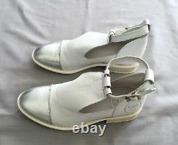 New Yep By Jonak White & Silver Annouk Girls Leather Shoes Sz 36 Uk 3 -3.5 Us 4