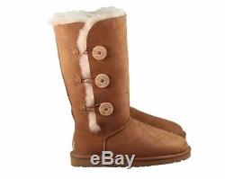 New in Box Ugg Australia Tall Bailey Button Chestnut Girls Kids Sizes 13,1,2,3