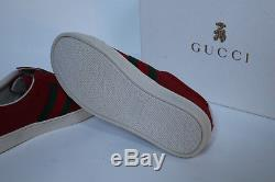 New sz 1 US / 32 Gucci Kids Boy or Girl Red Suede Slip on Sneaker Logo Shoes