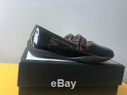 New sz 8.5/25 GUCCI Black Patent Elastic Bow Mary Janes Girls Toddler Kids Shoes