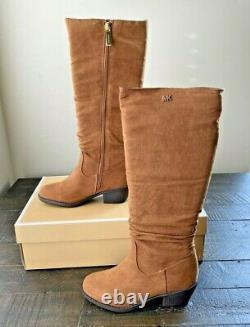 Nib Girl Michael Kors Fia Aven Caramel Block Heel Tall Boots Shoes Mult Sz