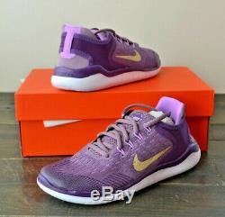 Nib Girls Kids Youth Nike Free Rn 2018 Violet Dust Running Shoes Mult Sz