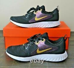 Nib Girls Youth Nike Legend Black Metallic Gold Running Shoes Mult Sz