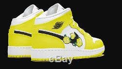 Nike Air Jordan 1 Mid SE GS SIZE 5Y Youth AV5174-700 Yellow Floral shoes